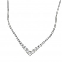 Necklace for woman, 14k white gold with cubic zirconia, length 44 cm