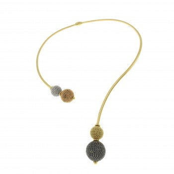 Колье для женщины, жёлтое, белое, красное золото 14 к, длина 18 см, диаметр 11 см