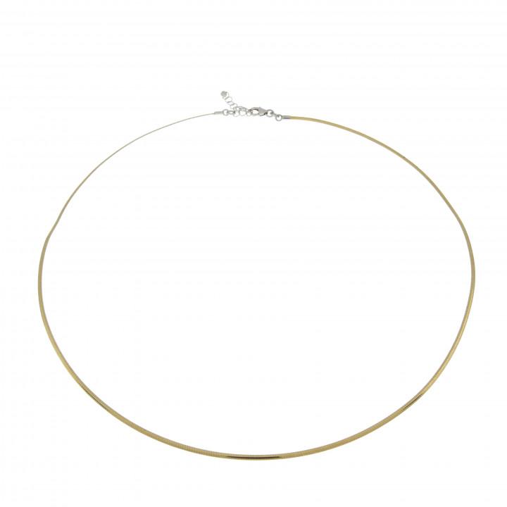 Колье для женщины, белое и жёлтое золото 14 к, диаметр 15.5 см