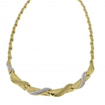 Колье для женщины, желтое и белое золото 14к, длина 36 см
