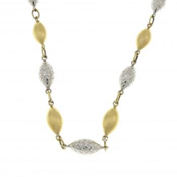 Цепочка для женщины, желтое и белое золото 14к, длина 42 см