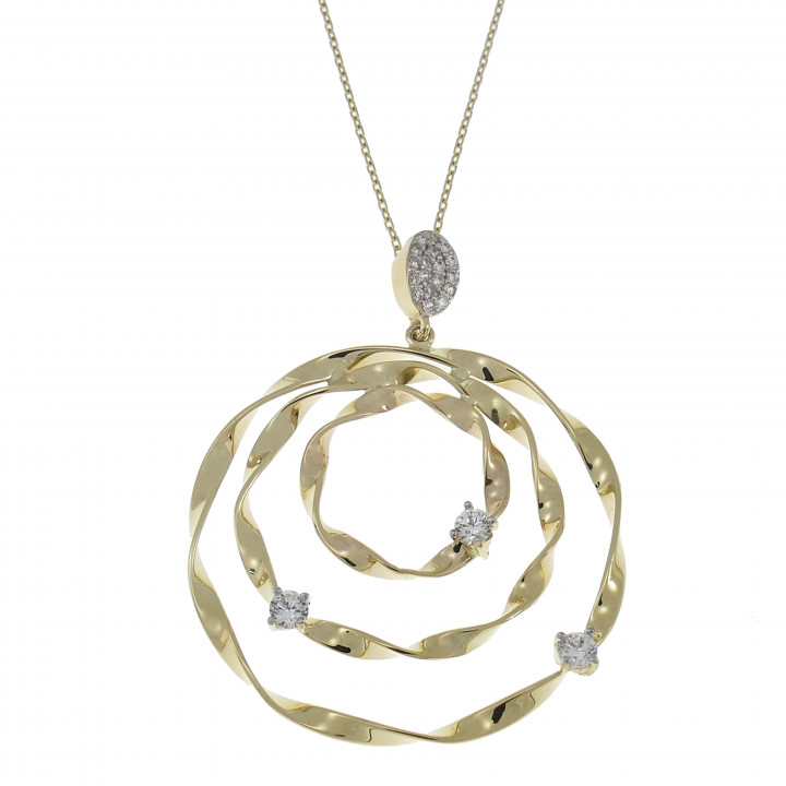 Женская цепочка с кулоном, желтое золото с цирконием, длина 57 см