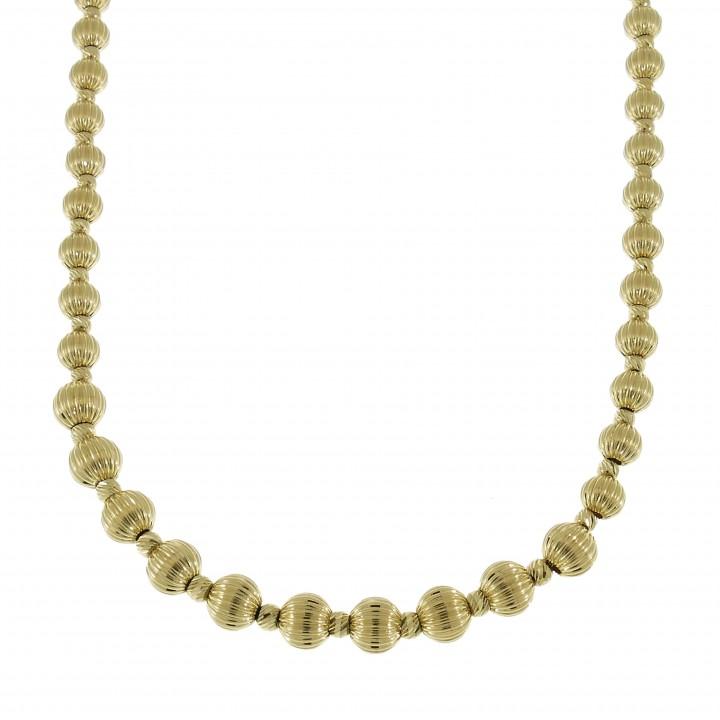 Цепочка для женщины с шариками, желтое золото 14 карат