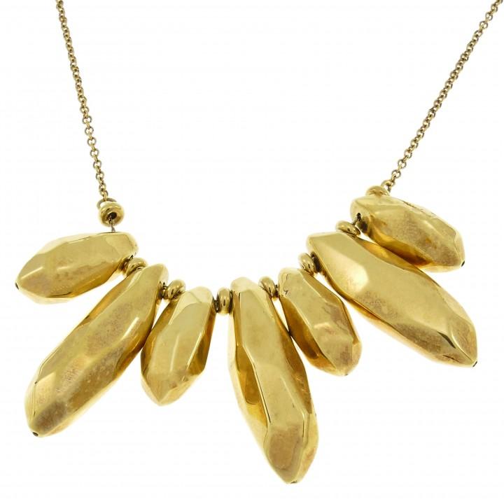 Цепочка для женщины с кулоном, желтое золото 14 карат, длина 50 см