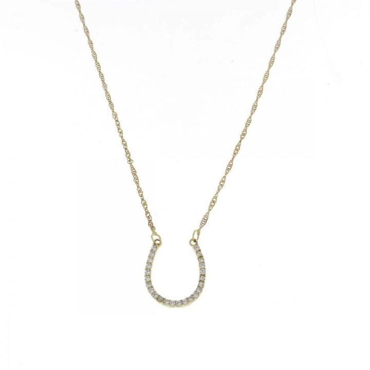 Цепочка для женщины, желтое золото с цирконием, длина 42 см