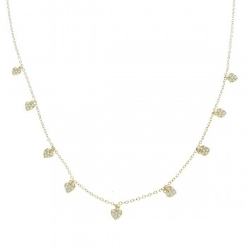 Цепочка для женщины, желтое золото с цирконием, длина 43 см