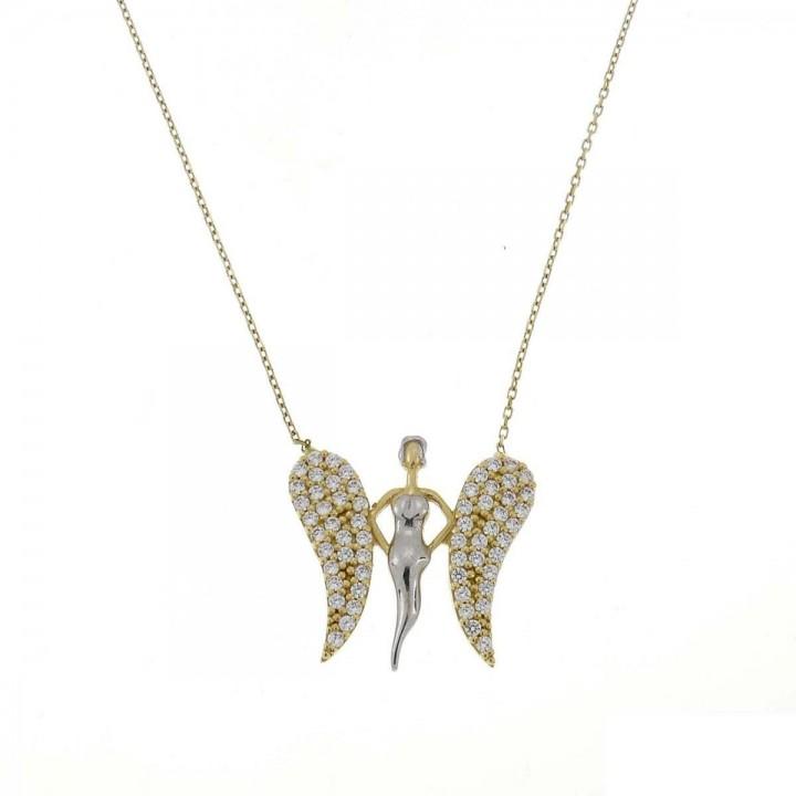 Цепочка для женщины, желтое золото с цирконием, длина 44 см