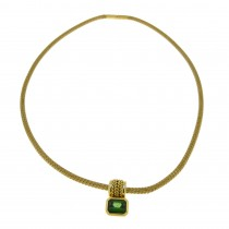 Necklace for woman, 14k yellow gold with emerald, length 42 cm