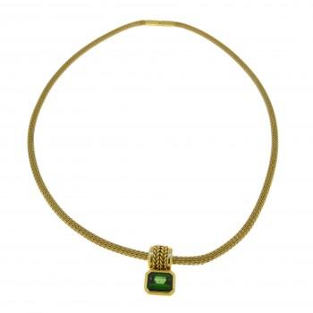 Колье для женщины, жёлтое золото 18к с турмалином, длина 42 см