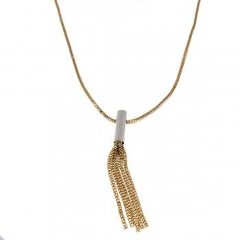 Цепочка для женщины с кулоном, желтое и белое золото 14 карат, длина 54 см
