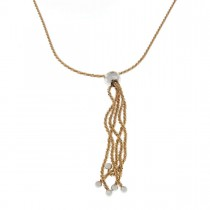 Chain for women with a pendant, yellow and white gold 14 carats, length 58 cm