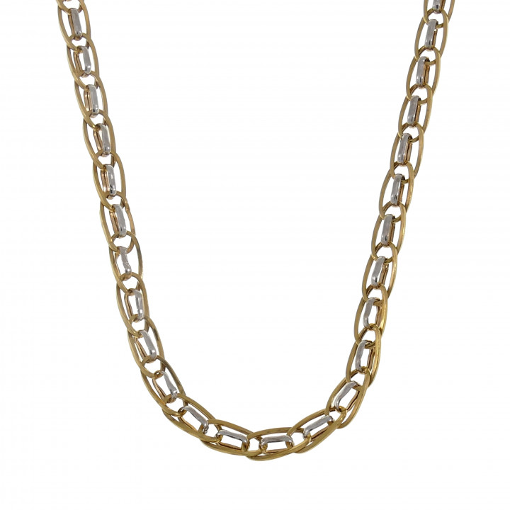 Женская цепочка, белое и жёлтое золото 14 карат, длина 48 см