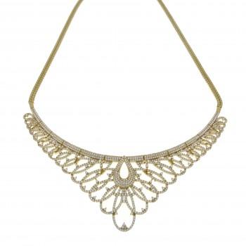 Колье для женщины, жёлтое золото 14 карат с цирконием