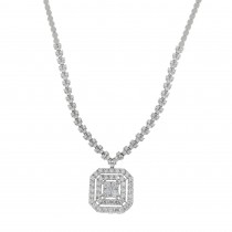 Necklace for women with pendant, 14K white gold with cubic zirconia