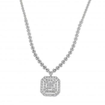 Колье для женщины с кулоном, белое золото 14 карат с цирконием