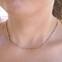 Цепочка для женщины, желтое золото 14 карат, длина 44 см