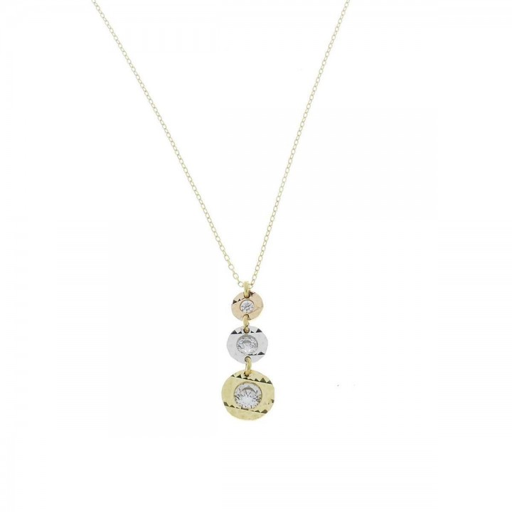 Chain for women, white, yellow, red gold, length 46 cm