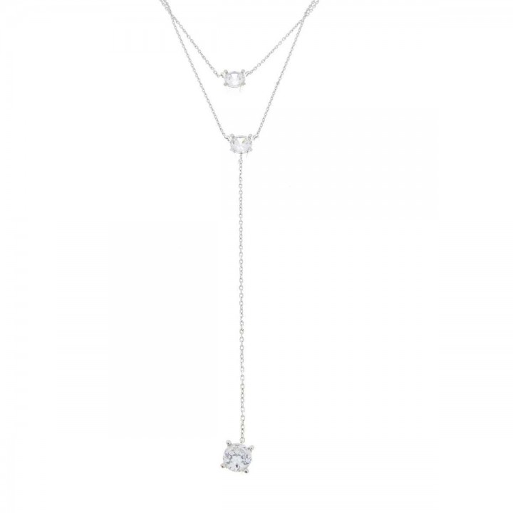 Chain for women, white gold with zirconium, length 59 cm