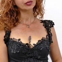 Колье для женщины, белое золото 14к с жемчугом, диаметр 13 см