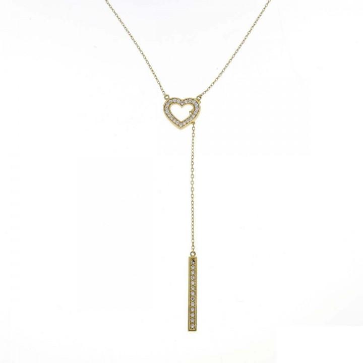 Chain for women, yellow gold with zirconium, length 58 cm
