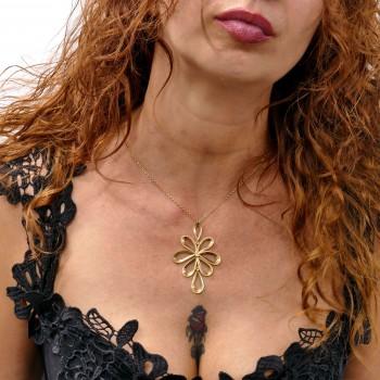 Цепочка для женщины с кулоном, желтое золото 14к, длина 54 см
