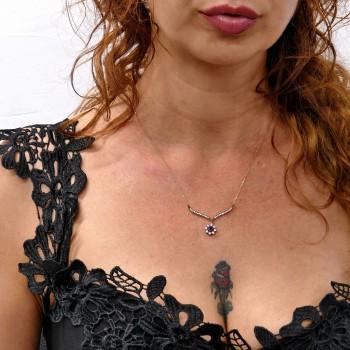 Цепочка для женщины с кулоном, желтое золото 14к, длина 46 см