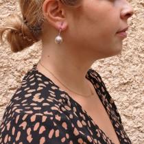 עגילים - כדורים לנשים, זהב לבן 14 קראט
