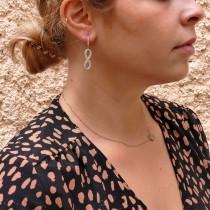 עגילים - אינסוף לנשים, זהב לבן 14 קראט, זירקונים מעוקבים