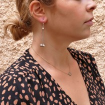 Drop earrings for woman, 14k white gold