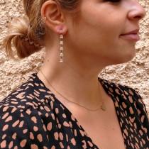 Drop earrings for woman, 14K yellow gold, cubic zirconia