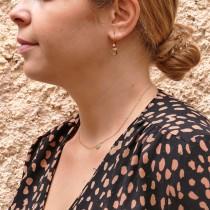 עגילים לאישה, זהב אדום 14 קראט, קוורץ