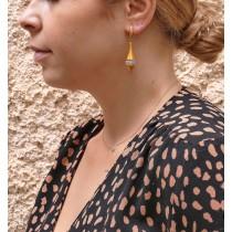 עגילי טיפה לאישה, זהב צהוב 14 קראט