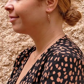 Висячие серьги для женщины, красное золото 14 карат