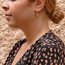 עגילים לאישה, זהב אדום 14 קראט, זירקונים מעוקבים