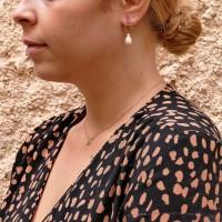 Серьги для женщины - капли, красное золото 14 карат, жемчуг