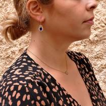 עגילים לאישה, זהב אדום 14 קראט, זירקונים מעוקבים וספיר