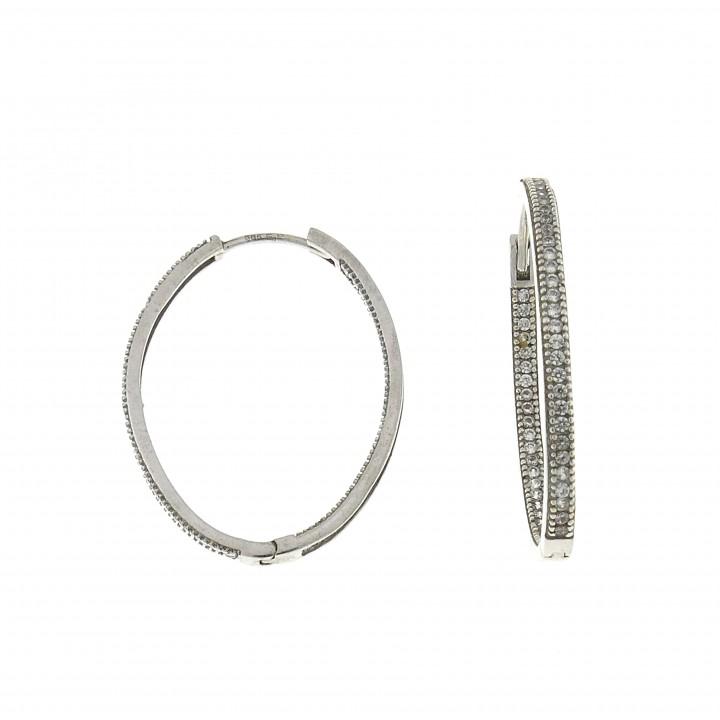 Round earrings for women, 14K white gold