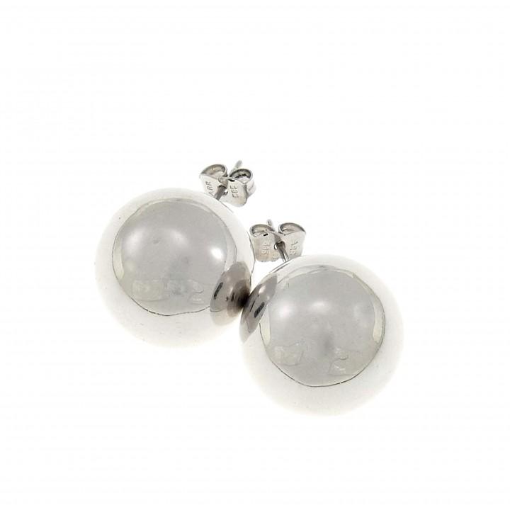 Серьги - шары для женщины, белое золото 14 карат