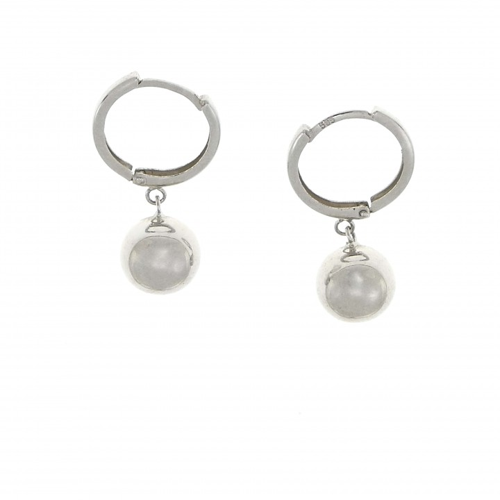 Earrings - balls for women, 14K white gold