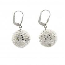 Earrings - balls for women, 14K white gold