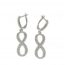 Earrings - infinity for women, 14K white gold, cubic zirconia