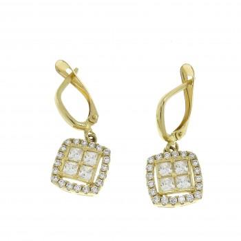 Earrings for a woman, 14K yellow gold, cubic zirconia