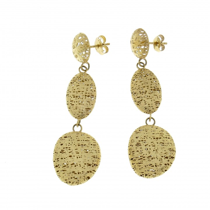 Drop earrings for woman, 14K yellow gold