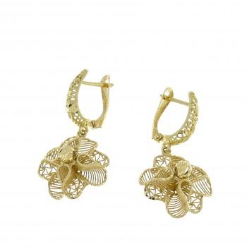 Earrings for women - flower, 14k yellow gold