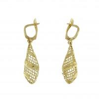 Серьги для женщины - капли, жёлтое золото 14 карат
