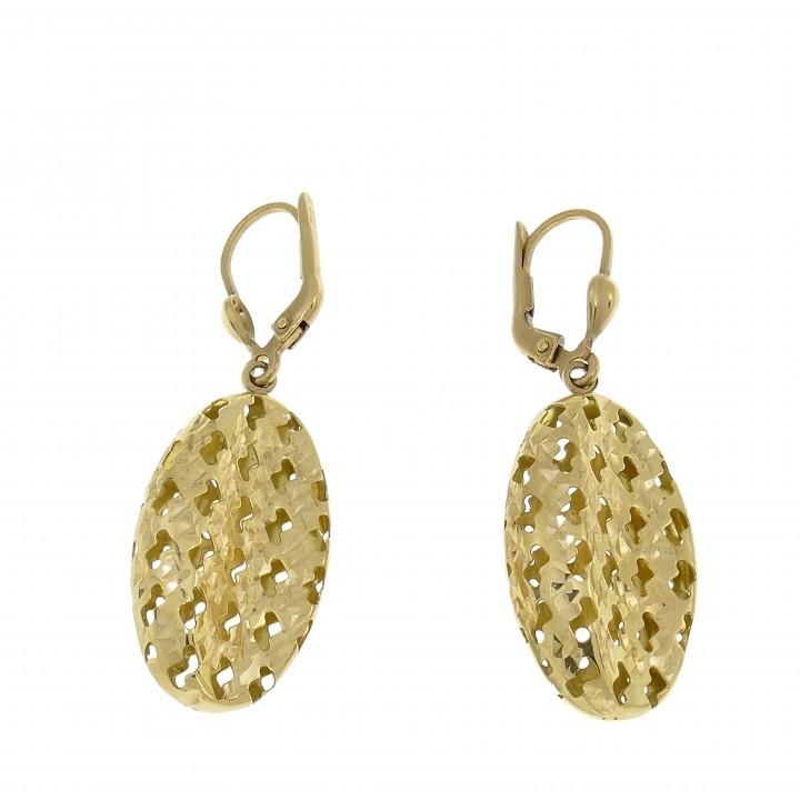 Висячие серьги для женщины, жёлтое золото 14 карат