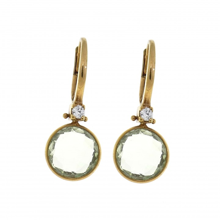 Earrings for woman, 14K red gold, quartz