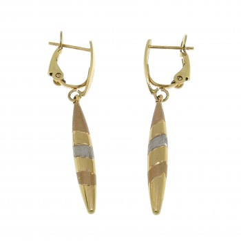 Drop earrings for woman, red, white, yellow gold 14k