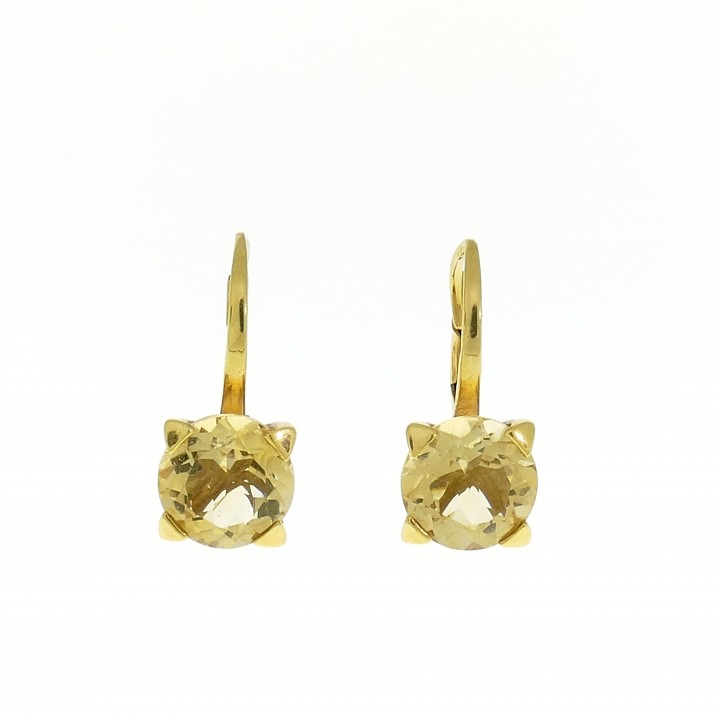 Earrings for woman, 14K yellow gold, citrine
