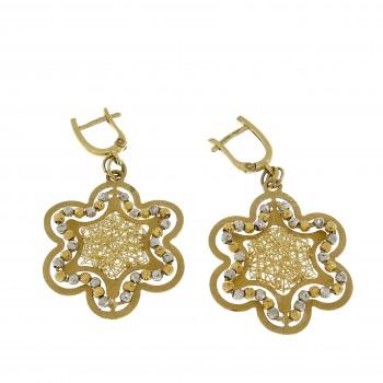 Earrings for women - flower, yellow, white, red gold 14 ct